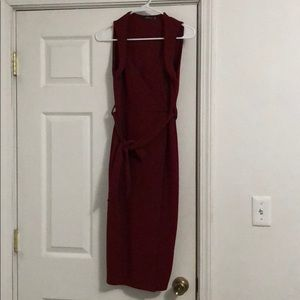 Wine colored faux wrap dress